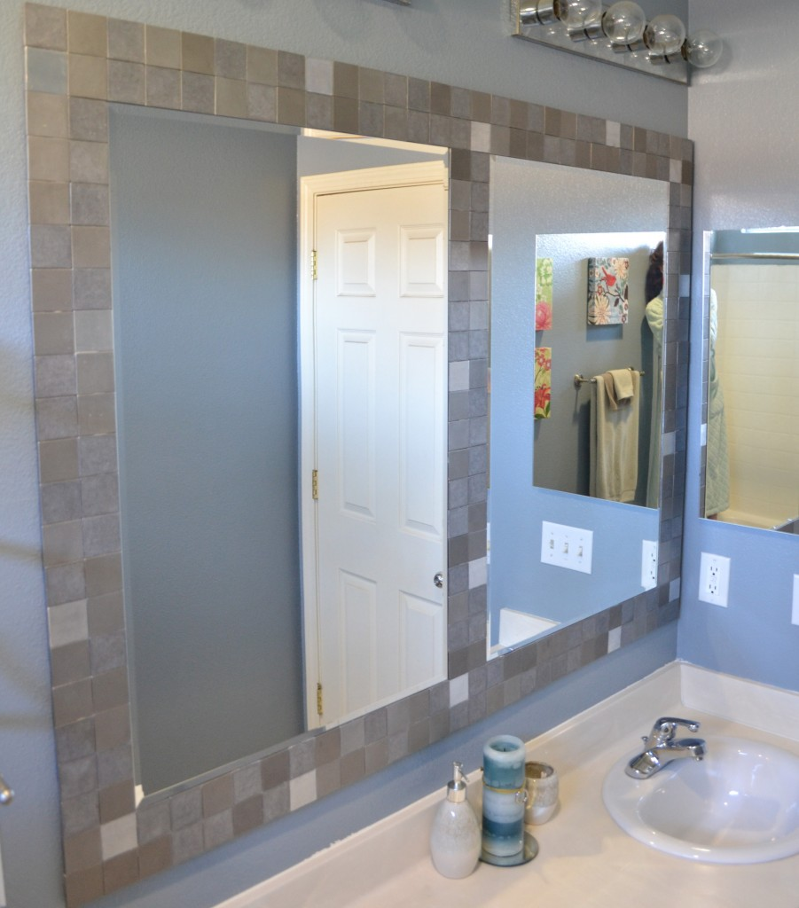 Tiled Framed Bathroom Mirrors. Large Wood Bathroom Mirror Metal ...