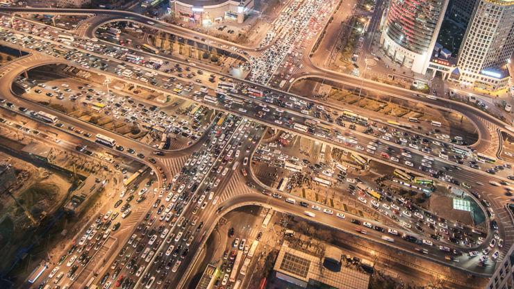 Aerial view of Guomao Bridge in Beijing, China.