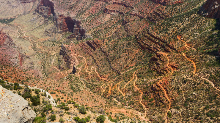 Aerial view of Bright Angel Hiking Trail in the Grand Canyon National Park, Arizona.