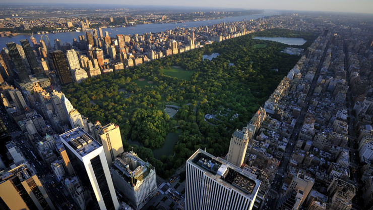 Aerial view of Central Park in Manhattan, New York.