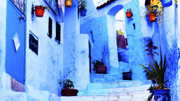 Blue walls in Chefchaouen, Morocco