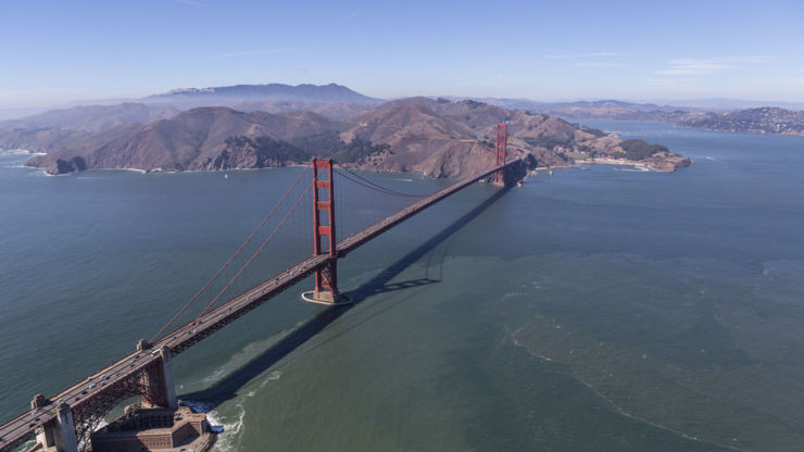 Aerial view of San Francisco's Golden Gate Bridge.