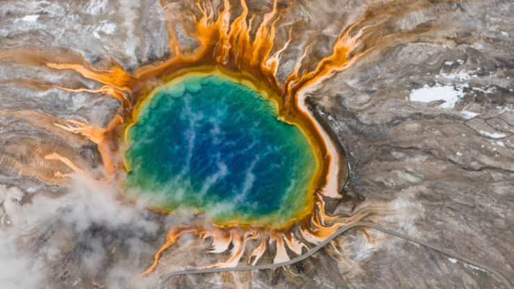 Aerial view of Grand Prismatic Spring, Yellowstone National Park, USA.