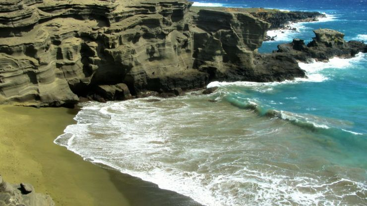 Green sand beach in Hawaii