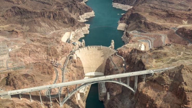 Aerial view of Hoover Dam, Nevada, USA.