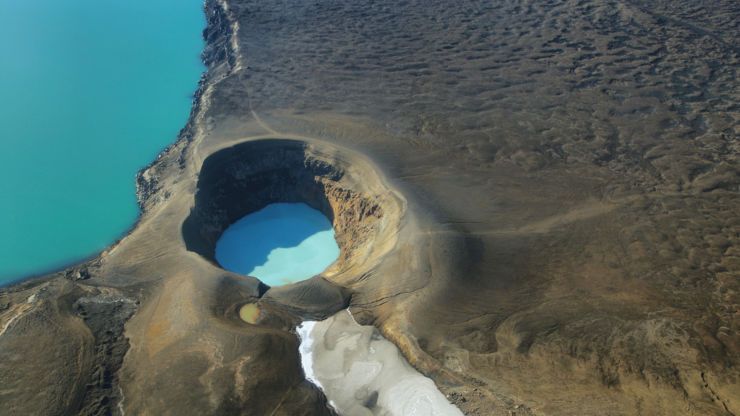 Aerial view of lake Oskjuvatn and Lake Viti in Iceland.