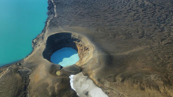 Aerial view of lake Oskjuvatn and Lake Viti in Iceland.