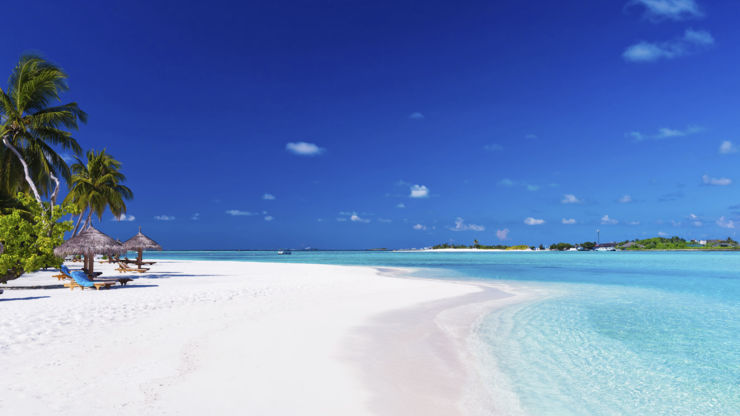 White sand beach at the Maldives