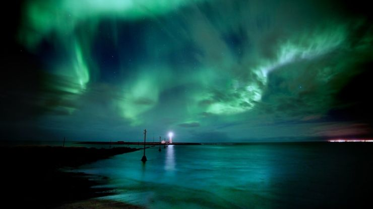 Grotta Lighthouse, Iceland bathed in the Northern Lights