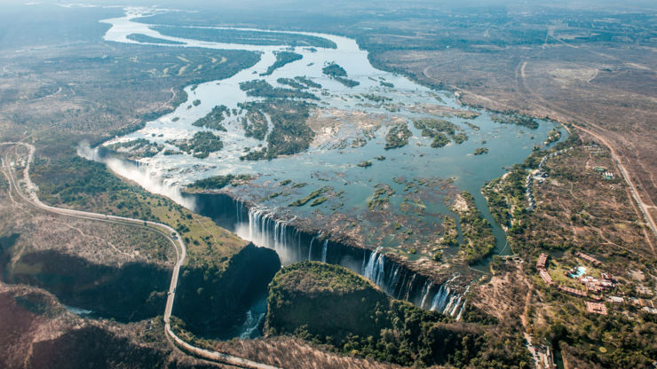 Aerial view of Victoria Falls on the Zambezi River, Africa.