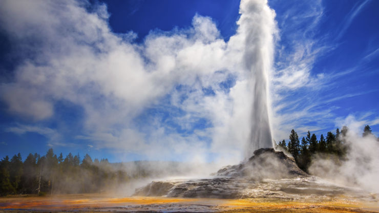 Geyser eruption at Yellowstone National Park in Wyoming, US.